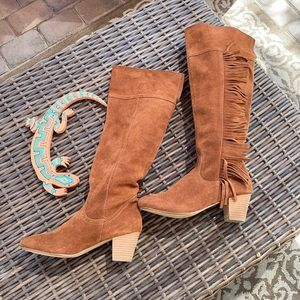 Knee High Brown Fringe Suede Boots, Sz 7